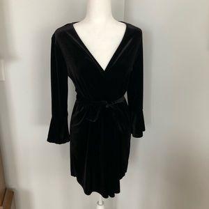 H&M Black Velvet Wrap Dress w Bell Sleeves